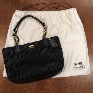 Coach Madison Gathered Leather Tote Bag, Black
